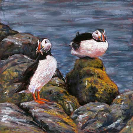 Good Catch, Puffins, Pastel On Panel