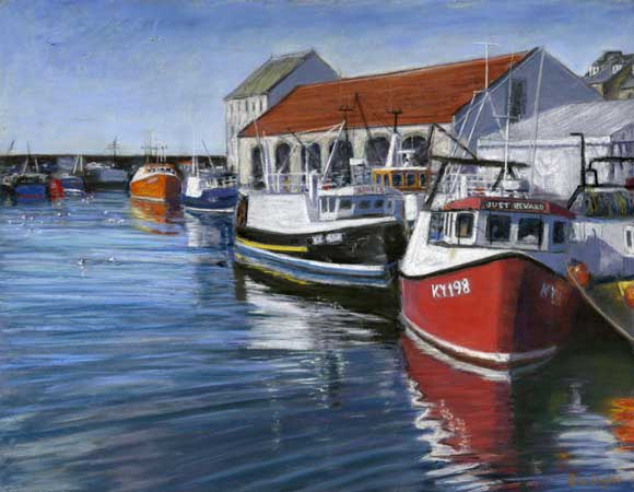 Harbour Reflections, Pittenweem, Pastel on Panel