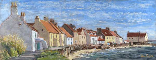 Painting of the cottages at West Shore with the sea almost reaching the seawall