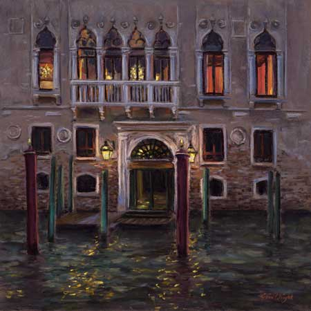 Painting of the palazzo lit up at night and the lights reflecting in the canal