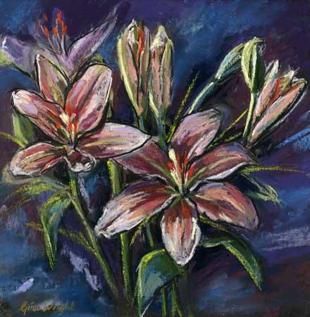 Pink Lilies, Pastel