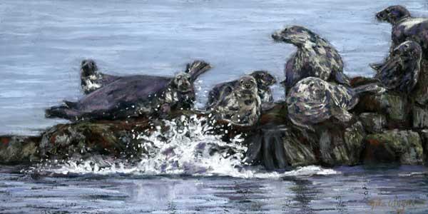 Seals Basking, Pastel