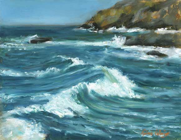 Waves on a rock coast