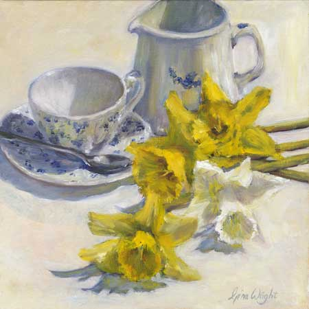 Still Life With Daffodils, Oil on Panel