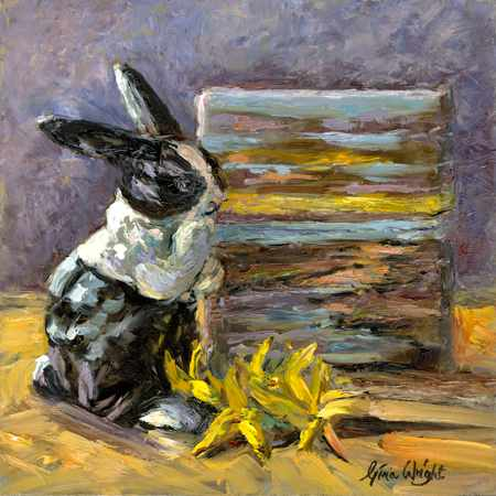 Still likfe painting with ceramic rabbit, flowers and miniture painting
