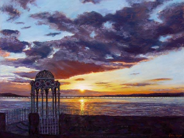 Sunset Over The Tay Bridge, Pastel on Panel